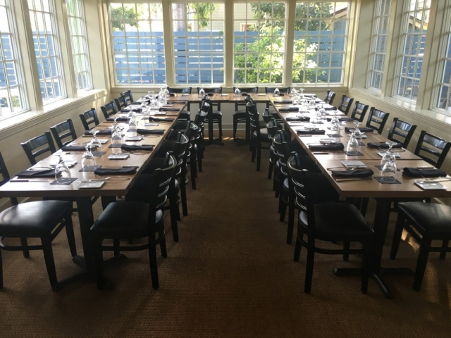 Glass Room set in 30 seat horseshoe